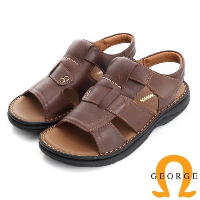 GEORGE 喬治-氣墊系列 牛皮抗震魔鬼氈休閒涼鞋拖鞋(男)-棕色