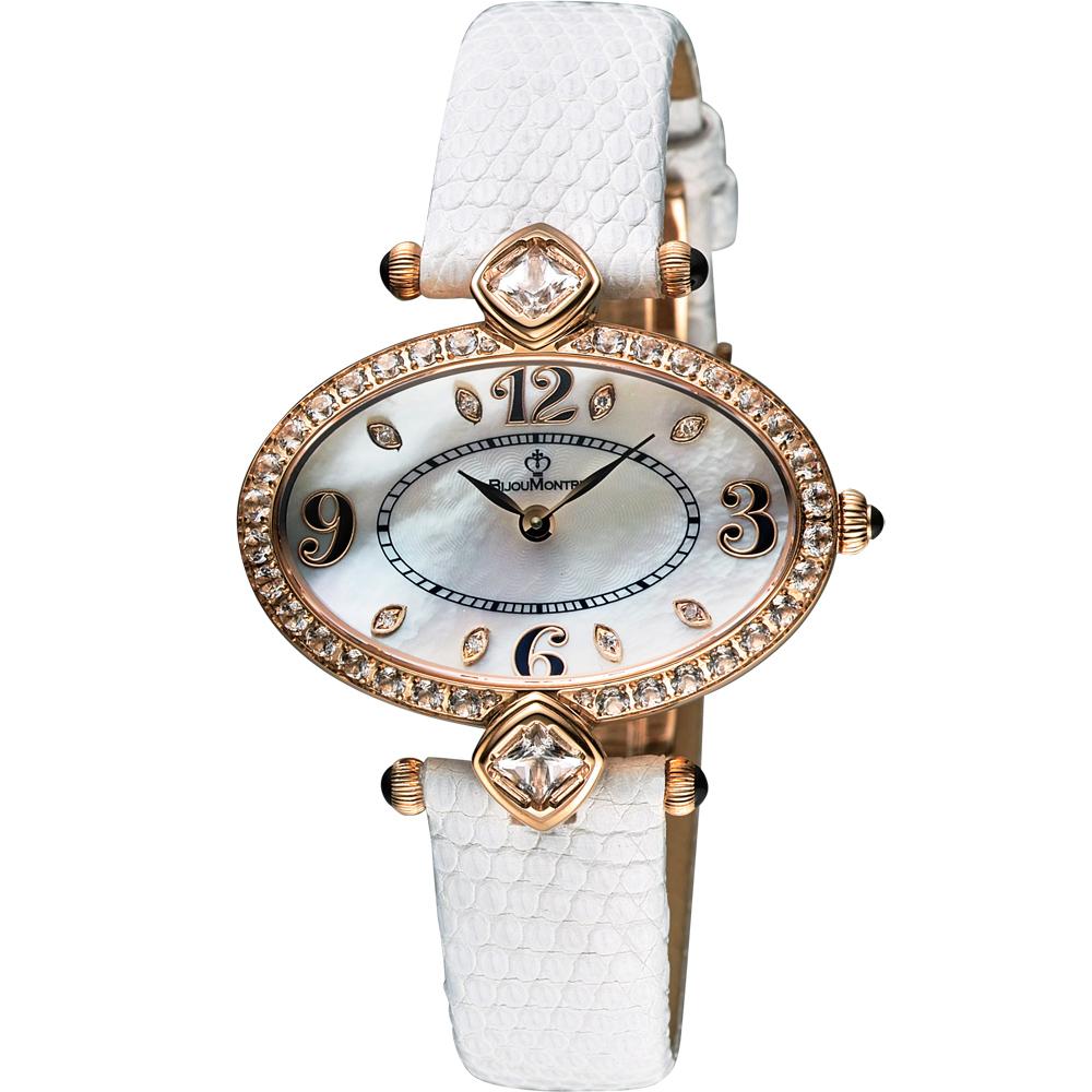 BijouMontre 寶爵 Gala 絕代佳人限量鑽錶-珍珠貝x白/36mm