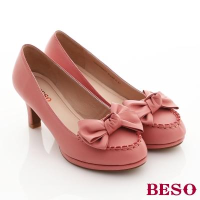 BESO蜜糖圓舞曲-綿羊皮柔軟立體蝴蝶結跟立體滾邊
