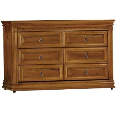 品家居 安達4尺樟木色實木六抽斗櫃