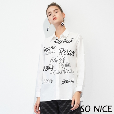 SO NICE率性立體字母設計長版襯衫