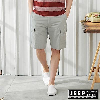JEEP 時尚造型口袋休閒短褲-淺灰