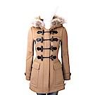 BURBERRY 可拆式浣熊皮草飾駝色連帽牛角扣羊毛大衣