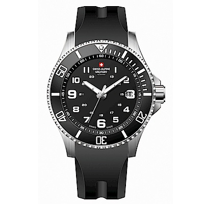 阿爾卑斯軍錶S.A.M 紅色警戒系列潛將-衝鋒黑/橡膠錶帶/43mm