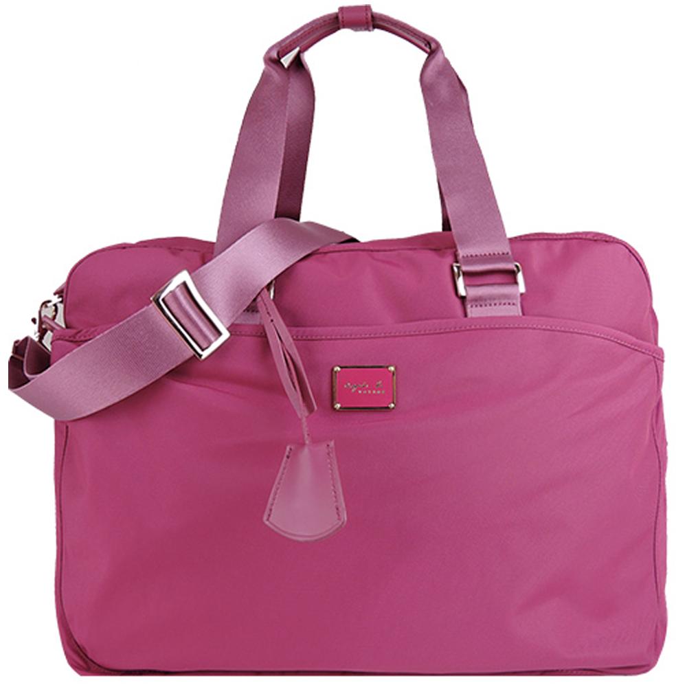 agnes b.金屬LOGO尼龍兩用旅行袋(大/紫紅)