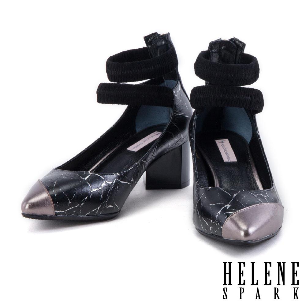 跟鞋 HELENE SPARK 摩登異材質金屬牛皮拼結繞帶尖頭高跟鞋-銀