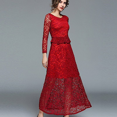 ABELLA 艾貝拉 荷葉顯瘦遮腰透視蕾絲長裙圓領洋裝(二色/S-2XL)