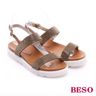BESO 極簡風格 燙鑽飾扣環中底涼鞋 米色