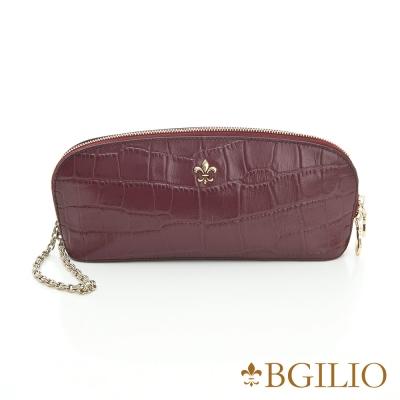 義大利BGilio-義大利牛皮壓鱷魚紋精品手拿包-酒紅色 1560.001A-23
