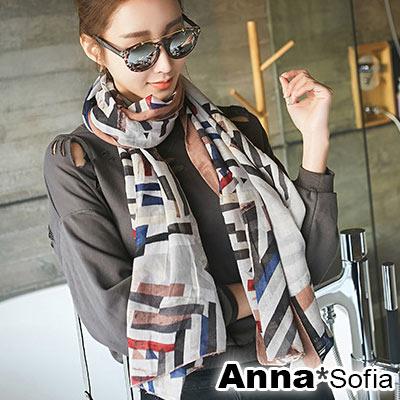 AnnaSofia 藝術繪塊彩調 拷克邊韓國棉圍巾披肩(豆沙粉邊)