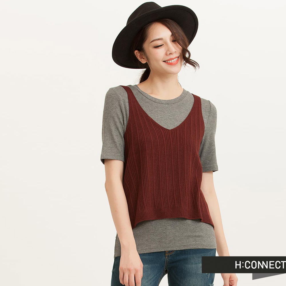H:CONNECT韓國品牌女裝羅紋V領針織背心紅