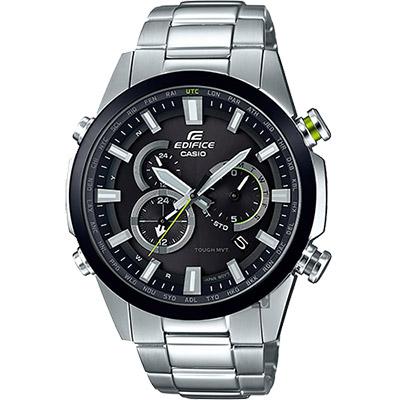 CASIO卡西歐 EDIFICE 太陽能電波賽車錶-黑圈/49.1mm