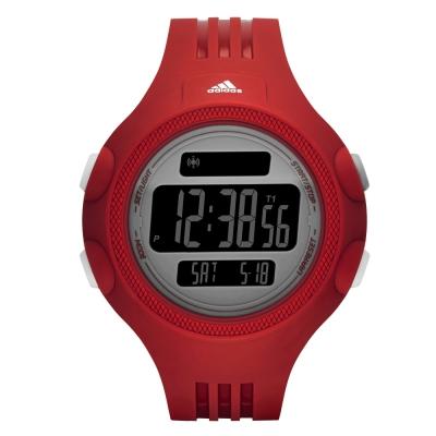 adidas 勁戰狙擊大面板電子腕錶-灰x紅/53mm