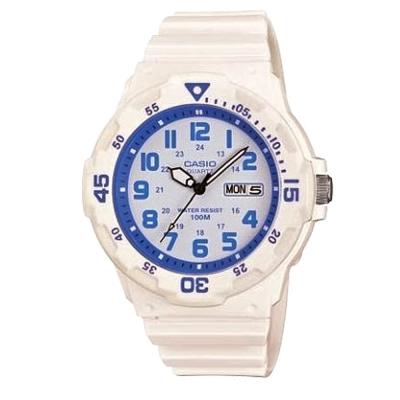 CASIO 潛水風DIVER LOOK指針錶(MRW-200HC-7B2)-白x藍圈/45mm