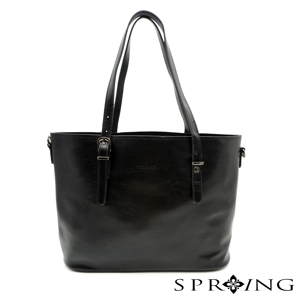 SPRING-大理石紋簡單生活托特包-黑