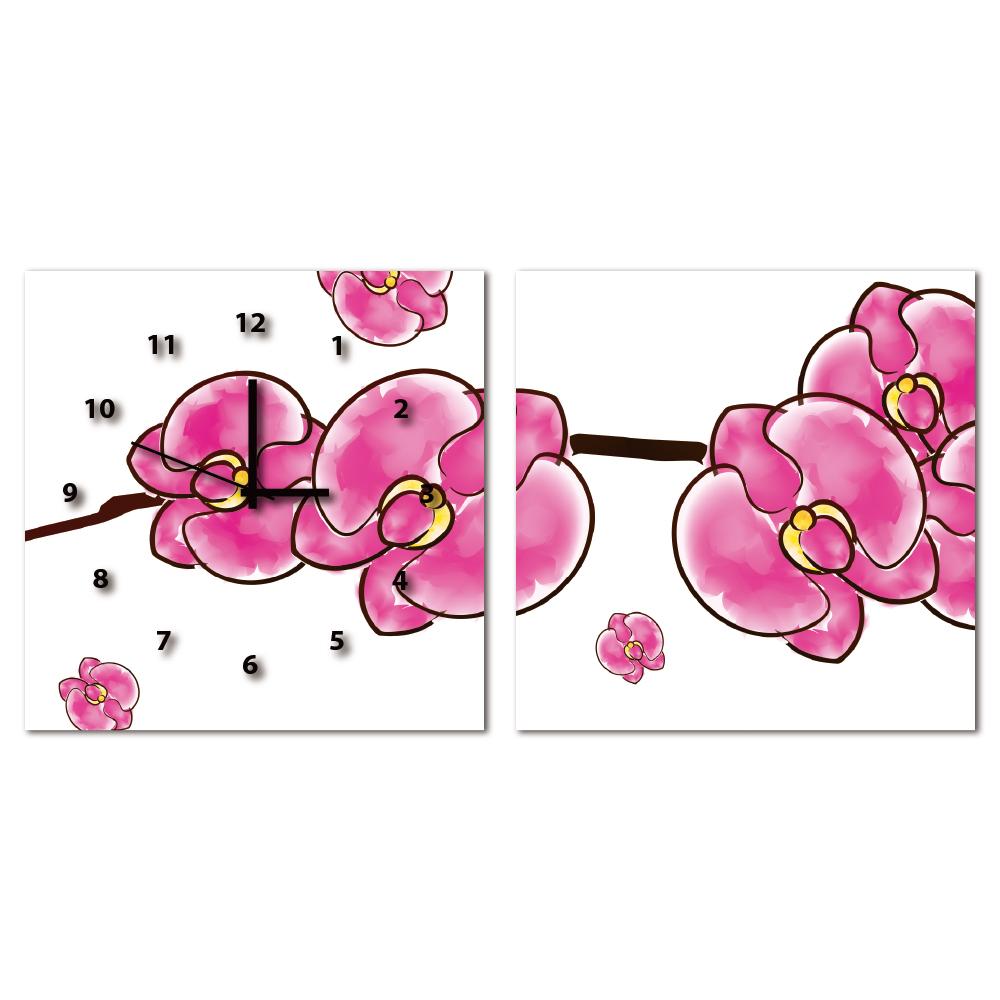 24mama掛畫-二聯客製化掛飾壁鐘時鐘無框畫藝術掛畫-花開花紅-50x50cm
