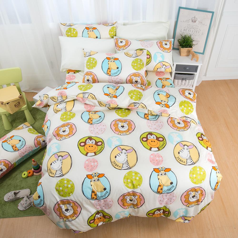 鴻宇HongYew 100%精梳棉 防蹣抗菌-歡樂動物園 雙人床包枕套三件組