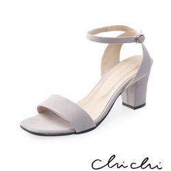Chichi 簡約繫帶一字高跟涼鞋*灰色
