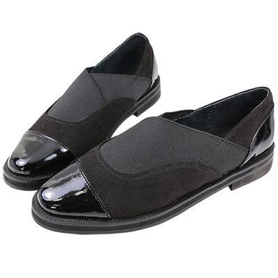 Robinlo&Co. 歐美異材質拼接懶人樂福鞋 黑