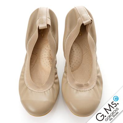 【G.Ms.】旅行女孩II‧素面鬆緊口全真皮可攜式軟Q娃娃鞋(附專屬鞋袋) ‧可可