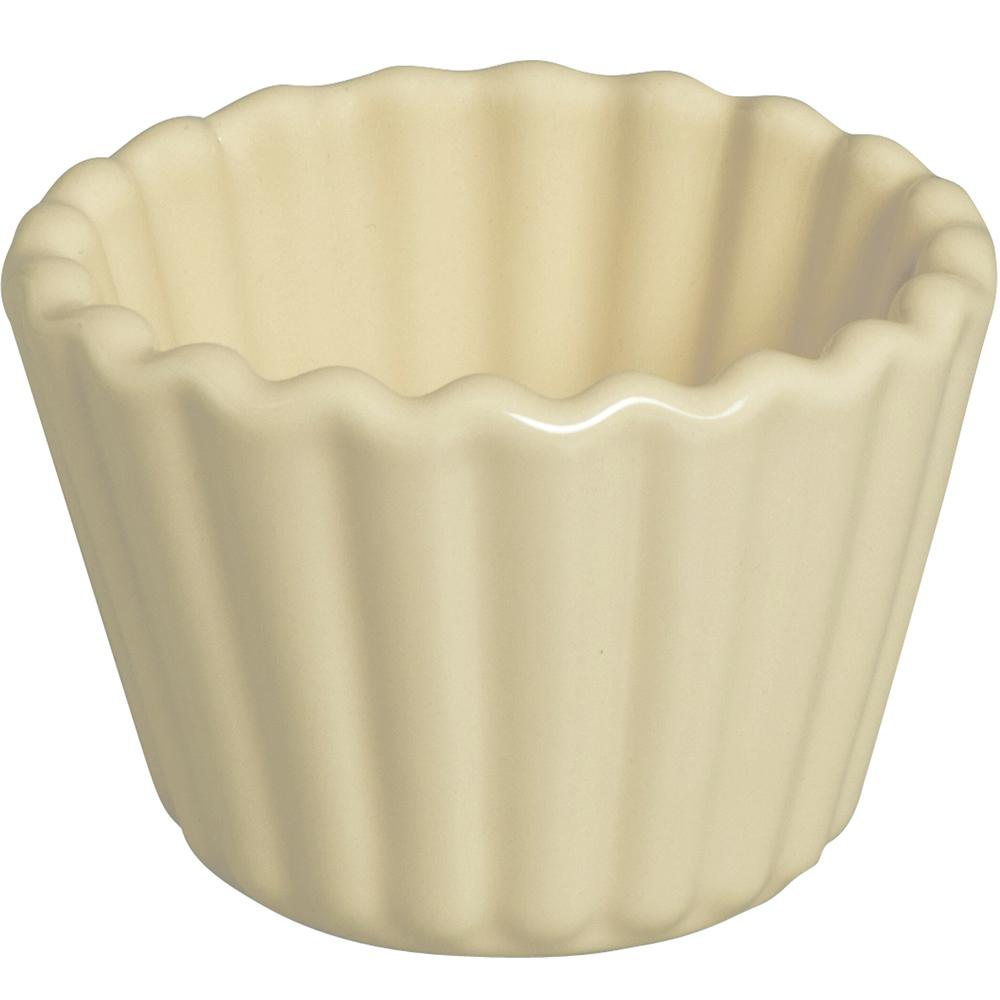 EXCELSA Fashion陶製花邊布丁烤杯(奶油黃9cm)