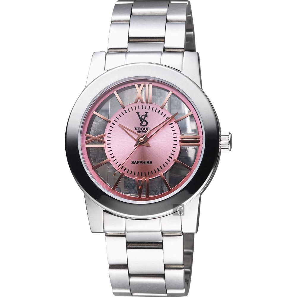 VOGUE 曼波系列鏤空藝術腕錶-粉x銀/38mm