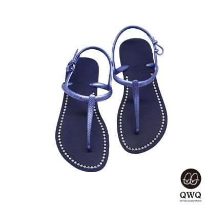 QWQ夾拖的創意(女) -璀璨面鑽涼鞋-寶石藍