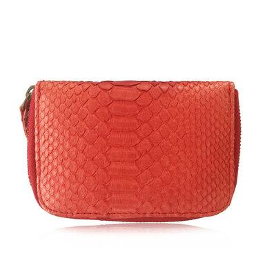 ACUBY 限量單品手工蛇皮零錢包-胭脂紅