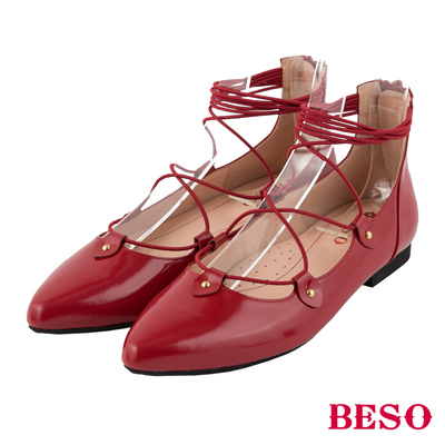 BESO芭蕾精靈 繫帶繞踝拉鍊全真皮平底鞋~紅