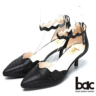 bac窈窕淑女-閃亮水鑽裝飾高跟美鞋-黑