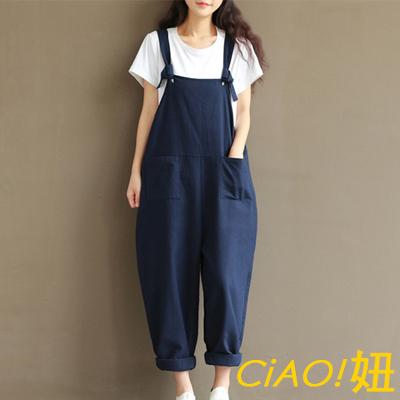 綁帶式口袋寬鬆棉麻吊帶褲 (共二色)-CIAO妞