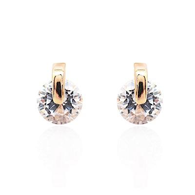 微醺禮物 耳環 鍍18/白K金 圓型活動 閃亮鋯石 簡約百搭 耳針