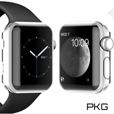 PKG Apple Watch 邊框面板殼保護護殼-晶透(硬式不發黃)