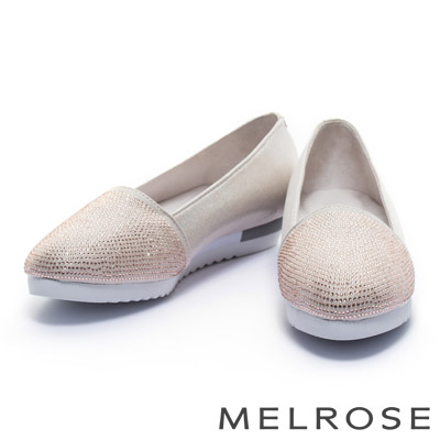休閒鞋-MELROSE-金屬光澤晶鑽厚底休閒鞋-粉