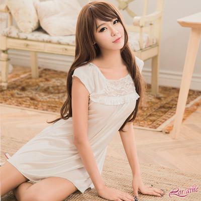 性感睡衣 優雅白色柔緞小蓋袖連身性感睡衣(白F) Lorraine