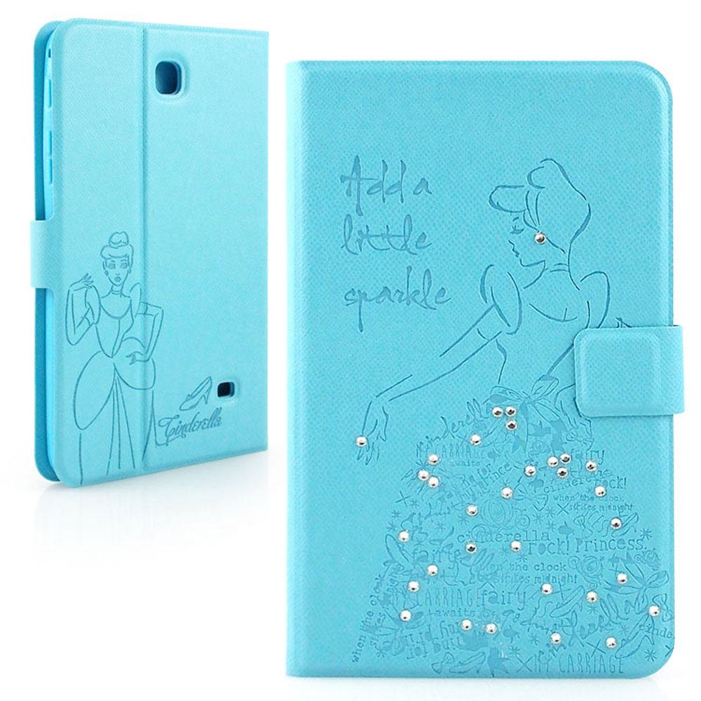 Disney Samsung GALAXY Tab 4 7.0 灰姑娘手繪風水鑽壓紋皮套