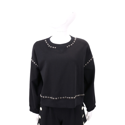ERMANNO SCERVINO 黑色星星鉚釘飾邊長袖棉質上衣