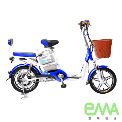 【EMA雲馬】電動 48鉛酸 LED 輕便 後雙避震  電動輔助自行車 白藍