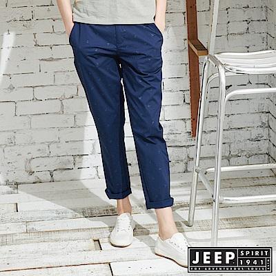 JEEP 女裝 夏日海洋滿版船錨造型休閒長褲-深藍色