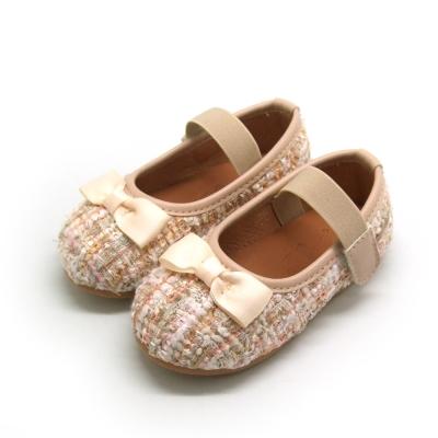 天使童鞋-D378 氣質編織格紋娃娃鞋(小童)-優雅白