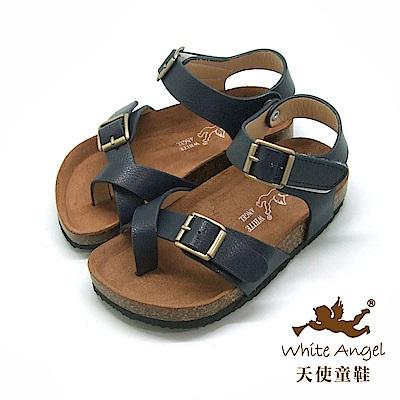 天使童鞋- 陽光羅馬氣墊夾腳親子拖鞋(中-大童)J856-藍