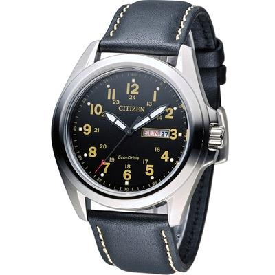 CITIZEN 星辰光動能復古豪傑時尚腕錶(AW0050-07E)-黑/43mm