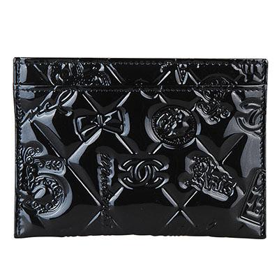 CHANEL 經典造型壓紋菱格漆皮卡片夾(黑)