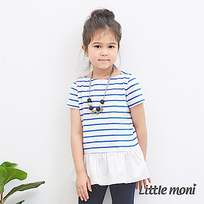 Little moni 短袖條紋拼接上衣 (2色可選)