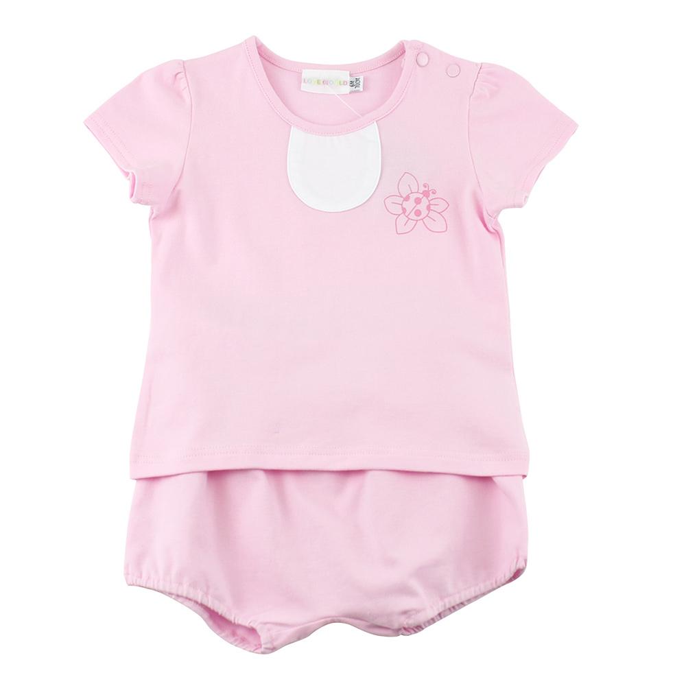 愛的世界 彈性瓢蟲花兩件式短袖套裝/6M~3歲