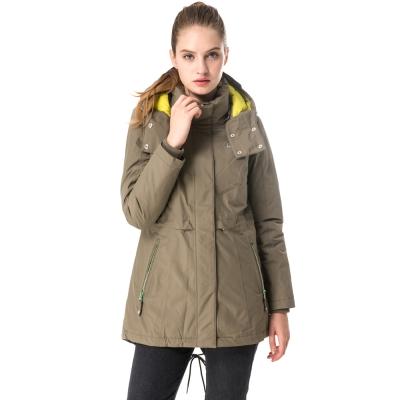 【hilltop山頂鳥】女款防水保暖蓄熱羽絨短大衣F22FU4綠