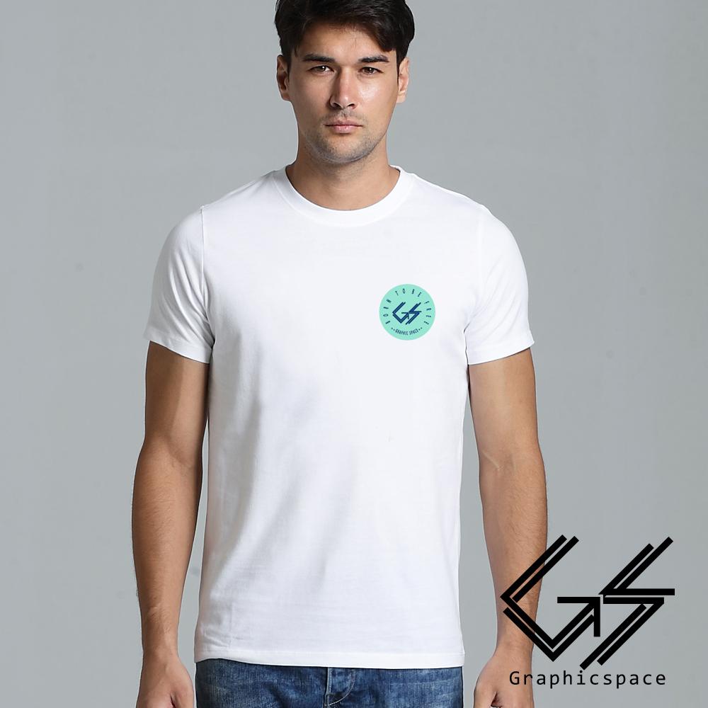 胸前圓形綠底小LOGO磨毛水洗T恤 (共二色)-GraphicSpace