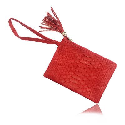 ACUBY 限量單品手工蟒蛇皮手拿包/火焰紅