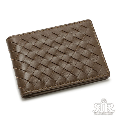 2R-細呢鬆軟-羊皮編織名片信用卡夾-深礦咖啡