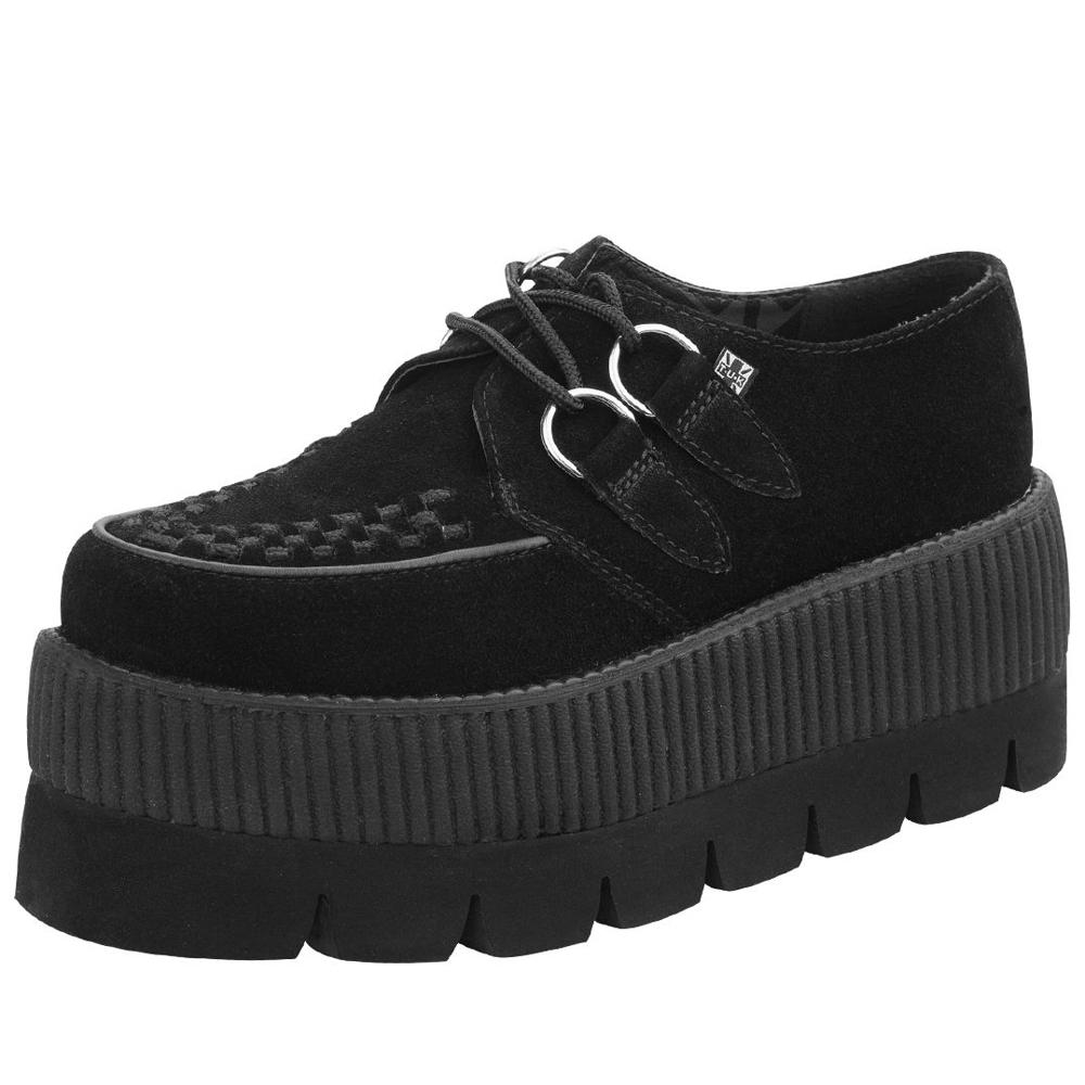 TUK麂皮厚底龐克鞋-8CM-黑